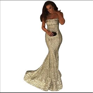 CLEARANCE Strapless Champagne Sequin Formal Dress